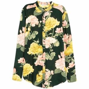 H&M Dark Green/Floral Long-Sleeved Blouse